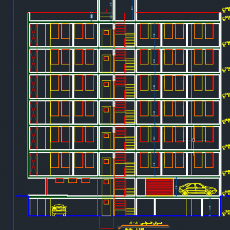 نقشه ساختمانی 6 طبقه سازه بتنی دتایل کامل